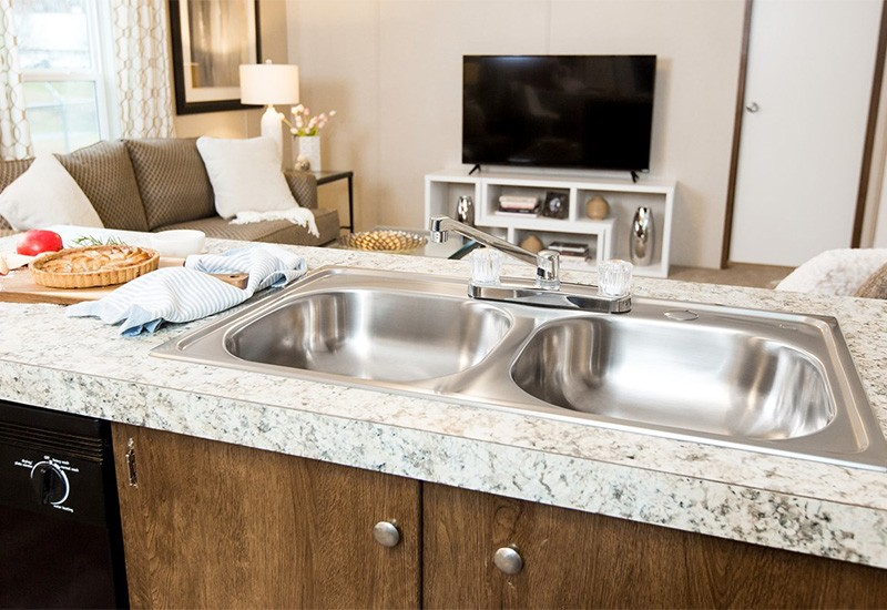 Dempsey-Kitchen-Sink-and-Living-Room - San Antonio Mobile Homes